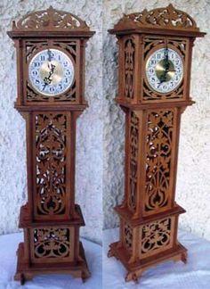 Grandfather clock, scroll saw fretwork pattern