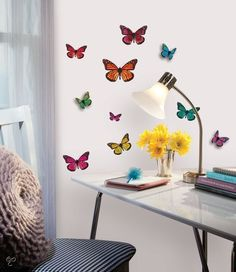 bol.com | RoomMates Muursticker 3d Vlinders - Multi | Wonen