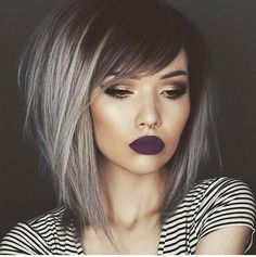 Textured bob. Grey hair color. Metallic hair. Wispy side bangs. Purple lipstick. by @tiasymonee
