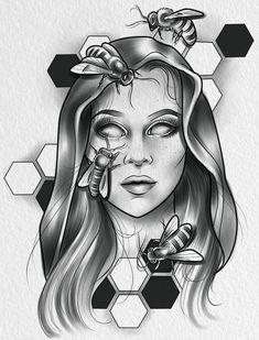 Owl Tattoo Design, Tattoo Design Drawings, Tattoo Designs, Tattoo Outline, Grey Tattoo, Mago Tattoo, Girl Face Tattoo, Jewel Tattoo, Traditional Tattoo Design