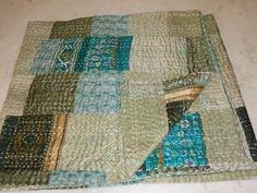Vintage Sari Gudri Pattola Pure Silk Kantha Ekat Reversible Bedcover Quilt