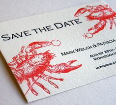 It takes Lobster's longer to find a mate, but when they do, they stay with one another for life! Lobster Save the Date from Steel Petal Press. A lobster wedding! Letterpress Save The Dates, Letterpress Wedding Invitations, Wedding Stationary, Wedding Programs, Destination Wedding, Invites, Blue Save The Dates, Wedding Save The Dates, Lobster Party