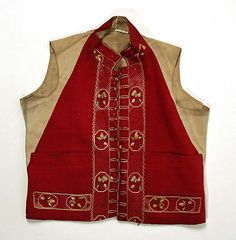 Vest, silk and linen, late 18th century, French.