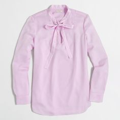 J.Crew Factory secretary blouse ($53) ❤ liked on Polyvore featuring tops, blouses, pink top, pink blouse, j crew top, j.crew and j.crew blouse
