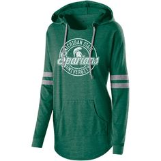 Women's Michigan State Spartans Low Key Pullover Hoodie ($65) ❤ liked on Polyvore featuring tops, hoodies, dark green, hooded pullover, dark green top, pullover hoodies, green top and green hoodies