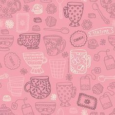 Handmade tea party pattern design by http://ankepanke.nl