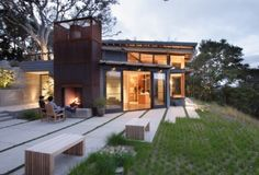 Integrating the hard and soft scape.  Love the texture of the grass.
