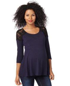 Motherhood Maternity Lace-Trim Striped Peplum Top | macys.com
