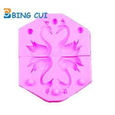 3D 2 Pcs/ set Swan Silicone Cake Mold Embossed Mold Baking Tool Sugar Craft Fondant Cake Decorating Tools CT356