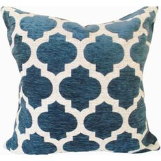 Blue Moroccan Chenille Decorative Pillow Cover Throw Pillow Accent Pillow Toss Pillow Both S
