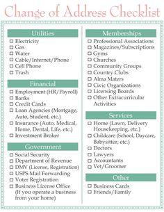 Moving Change of Address Checklist www.homesweetlifeblog.com