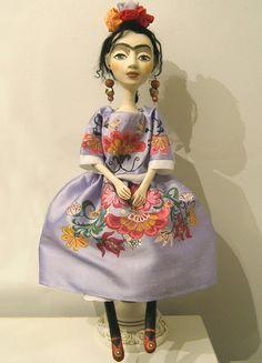 Hecho a mano de Frida Kahlo azul arte por BarbaraCharacters