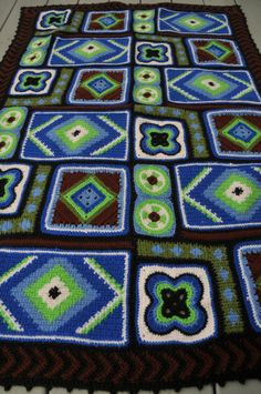 Vintage Handmade Geometric Crocheted Afghan Blanket