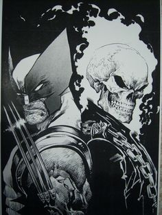 Wolverine & Ghost Rider by Mark Texeira #ComicArt — w o w okay where can I purchase this, I need it in my life.