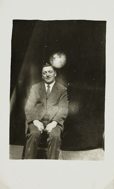 Man with a spirit face appearing, c. 1920, William Hope, National Media Museum Collection | Spirit Photography