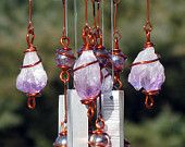Amethyst Windchime / Wind Chime with Recycled Aluminum and Copper Wire Wrapped Amethyst Glass Marble Prisms