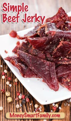 Simple Beef Jerky Recipe - an easy to make at home recipe that is 1/2 the price of store bought beef jerky and way more flavorful. It's a delicious DIY treat. Jerkey Recipes, Beef Recipes, Snack Recipes, Cooking Recipes, Cheap Recipes, Cooking Games, Recipes Dinner, Healthy Recipes, Simple Beef Jerky Recipe