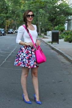 Express Full Floral Skirt with pink and blue details