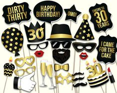 30th birthday photo booth props: printable PDF. von HatAcrobat