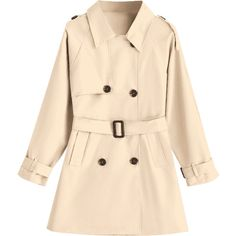 Double-breasted Belted Skirted Trench Coat ($35) ❤ liked on Polyvore featuring outerwear, coats, belted trench coat, trench coats, beige coat, belted coat and double breasted belted coat