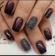 Nail art ! Bordeau, paillettes.......💋❤