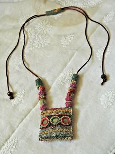 Statement necklace Colourful necklace Textile by KalptaruUnique