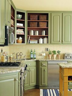 Remove a few cabinet doors for a free kitchen storage update! Add a few wicker baskets or glass containers for extra polish.