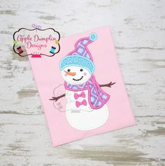 Snow Girl with Bow Applique Machine by AppleDumplinDesign on Etsy