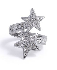 Make a wish every time you wear this star crossed, silver-toned ring with clear crystal detailing