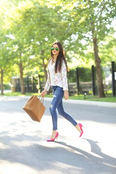Floral blazer with matching pink pumps and distressed skinny jeans / Dressy Casual Day Outfit