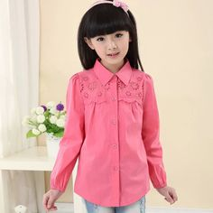 2016 new spring & autumn children's clothing brand cotton peter pan collar long-sleeve shirt white lace decoration girls blouses