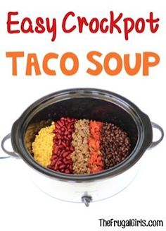 Is it time for your Taco Tuesday to have a delicious makeover? You'll LOVE this Easy Crockpot Taco Soup Recipe! Go grab your Slow Cooker and get ready for some serious YUM! What You'll Need: 1 lb. Crock Pot Slow Cooker, Slow Cooker Recipes, Soup Recipes, Cooking Recipes, Crockpot Meals, Easy Recipes, Dinner Recipes, Crockpot Dishes, Cooking Food