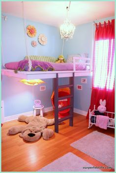 """Remodelaholic » Blog Archive DIY Hanging Loft Bed in a Girl's Bedroom »"" I would have loved this when I was younger!!!! It would be awesome to have a fort underneath! So doing this someday..."