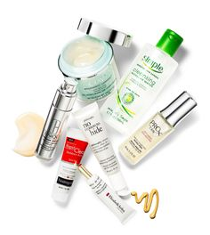 Best Skin: Olay Regenerist Luminous Overnight Mask, $26; Simple Skincare Micellar Cleansing Water, $6.99; ProX by Olay Nightly Purifying Micro-Peel, $39.99; Philosophy No Reason to Hide Instant Skin-Tone Perfecting Moisturizer, $45; Elizabeth Arden Flawless Future Powered by Ceramide Eye Gel, $40; Neutrogena Rapid Clear Stubborn Acne Spot Gel, $8.99; Clinique Smart Custom-Repair Serum, $59.50