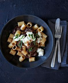 Australian Gourmet Traveller recipe for braised beef shin with rigatoni, feta and mint.