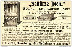 """Original-Werbung/ Anzeige 1897 - STRAND - UND GARTENKORB / """"SCHÜTZE DICH"""" - ZIETZ - HAMBURG - ca. 90 x 60 mm"""