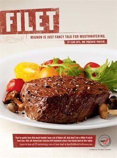 Beef tenderloins, mushrooms, cherry tomatoes, 2T champagne or white wine vinaigrette and baby mixed salad.