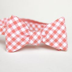 peach gingham mens bow tie by xoelle on Etsy, $36.00