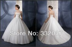 Wholesale - Free shipping white lace applique wedding dress 2014 women train new arrivals