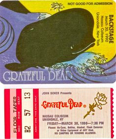 Grateful Dead (Spring 1990 Box Set) Ticket stub and backstage pass for Uniondale, NY, 3/30/1990