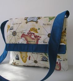 Messenger Bag in map design. $28.00, via Etsy.