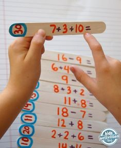 """Students will choose a popsicle stick, solve the math problem, and then """"stack"""" it with the stick that has the right answer in the blue circle on the end. They then solve that problem, find the next matching stick, and so on. A true long-form activity that will allow you a bit of time to set up a new lesson, watch without interfering, or just take a breather from the chaos that is elementary school for a minute."""