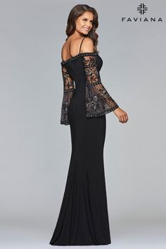 Faviana style is a long jersey evening dress featuring bell sleeves and high slit. Mother Of The Bride Gown, Mother Of Groom Dresses, Mothers Dresses, Elegant Dresses, Beautiful Dresses, One Step, Mob Dresses, Bride Dresses, Party Dresses