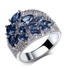 Moda Anillos de rodio plateado con circón cúbico anillos de boda para las mujeres Anillo de dedo de cobre de alta calidad Libre del envío