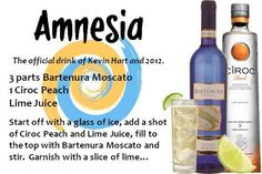 Obsessed with this drink, Amnesia made with Peach Ciroc and Bartenura Moscato