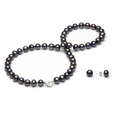 This beautiful DaVonna Sterling Silver Black Freshwater Pearl Jewelry Set 7 8 mm and you'll even love its price http://www.overstock.com/10437427/product.html?CID=245307