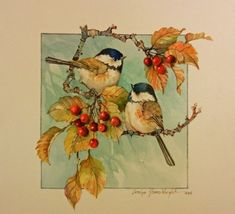 Chickadee Autumn 7x7 watercolor