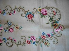 vintage bench seat back needlepoint canvas 43x22 preworked