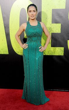 Salma Hayek-Pinault  in a Gucci Première  emerald green fully embroidered sleeveless silk georgette evening gown:  www.gucci.com
