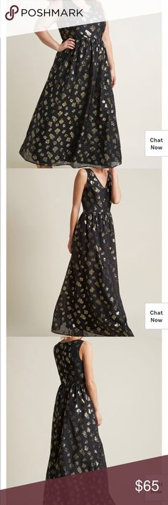 NWT ModCloth Maxi Dress w/ VNeck & Metallic Flower Beautiful maxi dress. Black with gold flowers. NWT. Modcloth Dresses Maxi